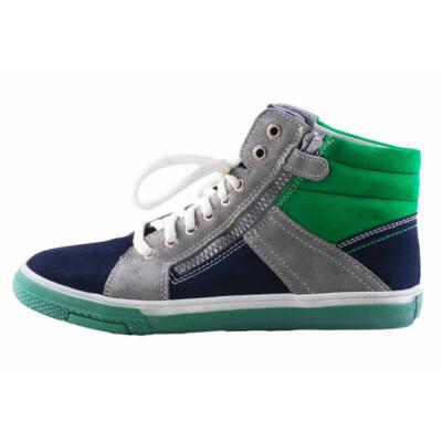 Richter sötétkék-szürke-zöld, fűzős, cipzáras bőr tornacipő