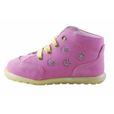 Richter rózsaszín-halványsárga, ezüst virágos, extra puha talpú, első lépés cipő