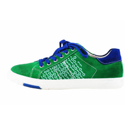 Richter zöld, oldalt számos, kék fűzős átmeneti cipő