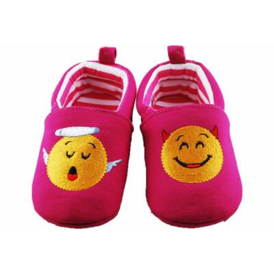 Ciklámen, sárga Smile figurás Sterntaler babacipő (21-22)
