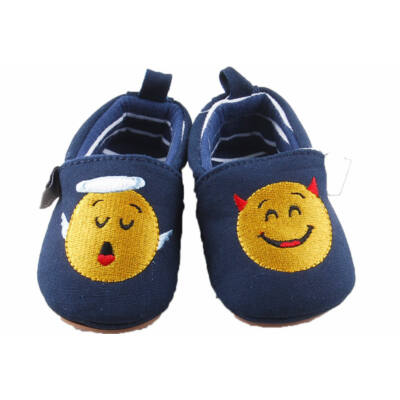 Sötétkék, sárga Smile figurás Sterntaler babacipő (17-18)
