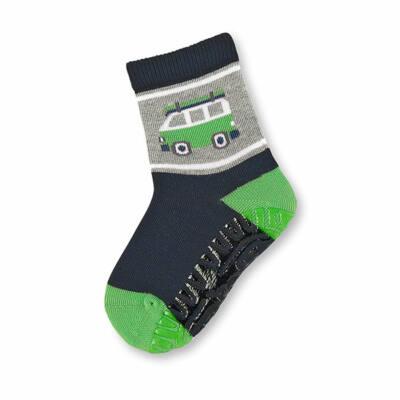 Sterntaler sötétkék-zöld busz-os szilikon talpú zokni (25-26)