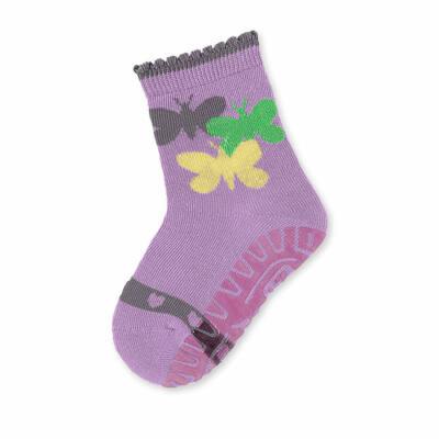 Sterntaler lila, csillogós pillangós szilikon talpú zokni (17-18)