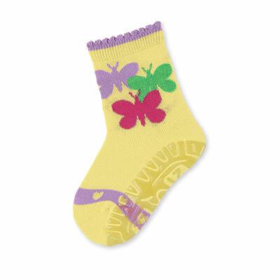 Sterntaler sárga, csillogó pillangós szilikon talpú zokni (17-18)