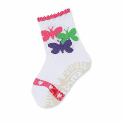 Sterntaler fehér, csillogós pillangós szilikon talpú zokni (17-18)