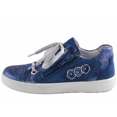 Csillogós kék, oldalt virágos, cipzáras, fűzős, lányka cipő