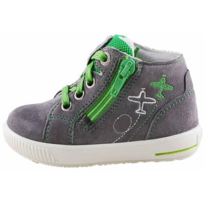 Szürke-zöld repülős, cipzáras-fűzős Superfit cipő