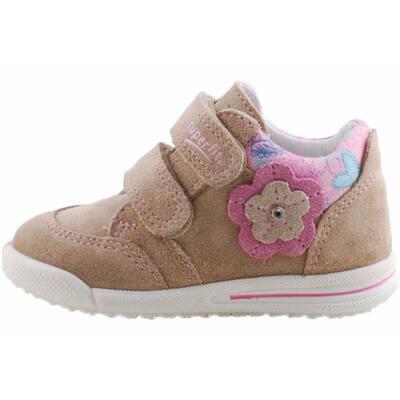 Bézs, csillogó virágos, keskeny, Superfit cipő