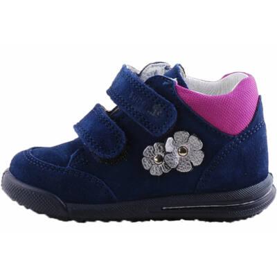 Sötétkék, ezüst virágos, Superfit keskeny cipő