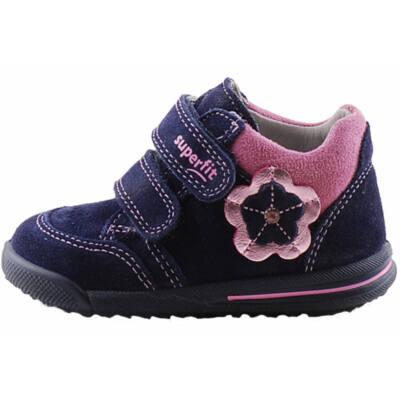 Sötétkék, rózsaszín virágos, keskeny, Superfit cipő