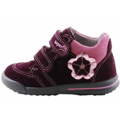 Bordó, rózsaszín virágos, keskeny, Superfit cipő