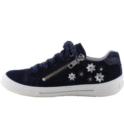 Sötétkék, ezüst virágos, cipzáras-fűzős, Superfit cipő