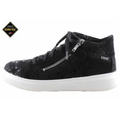 Fekete, anyagában fekete pöttyös, vízálló, Gore-Tex, lányka cipő