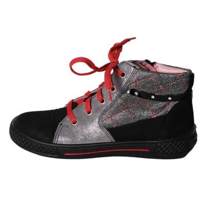 Superfit fekete-ezüst csillogós, cipzáras, fűzős bőr cipő
