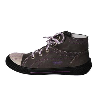 Superfit szürke-lila cipzáras, fűzős bőr cipő