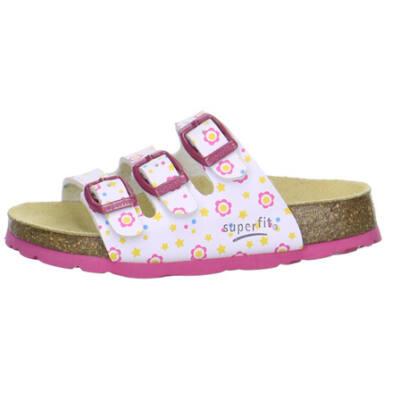 Fehér-pink, 3 csatos, virágos, csillagos Superfit papucs