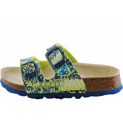 Kék, neon mintás, 2 csatos, Superfit papucs