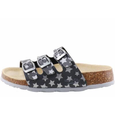 Szürke, ezüst csillagos, 3 csatos, Superfit papucs