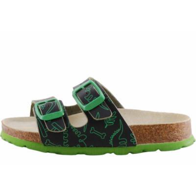 Fekete, zöld, dínós, 2 csatos, Superfit papucs