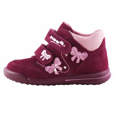 Superfit bordó, rózsaszín masnis keskeny, átmeneti cipő