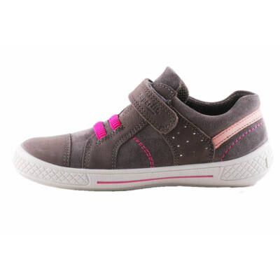 Superfit szürke, ciklámen gumi fűzős, szürke talpú átmeneti cipő