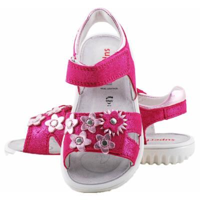 Csillogó pink, rózsaszín virágos, Superfit szandál