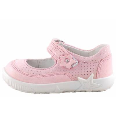 Rózsaszín-ezüst, csillagos Superfit pántos balerina cipő