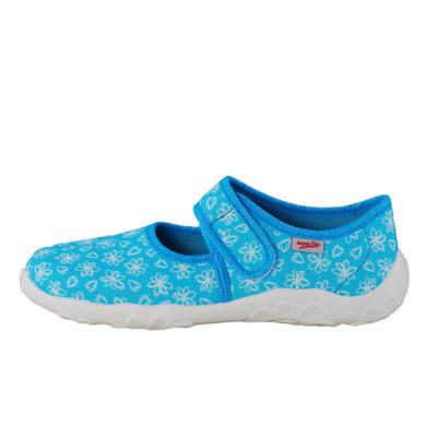 Superfit türkízkék-fehér virágos vászoncipő