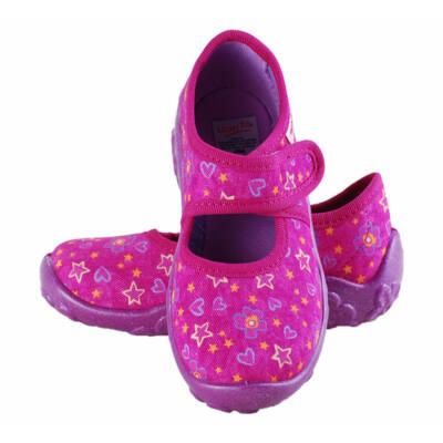 Lila, csillagos, virágos, Superfit vászoncipő
