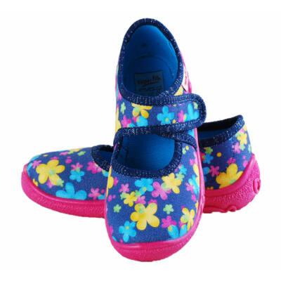 Sötétkék, virágmintás, Superfit vászoncipő