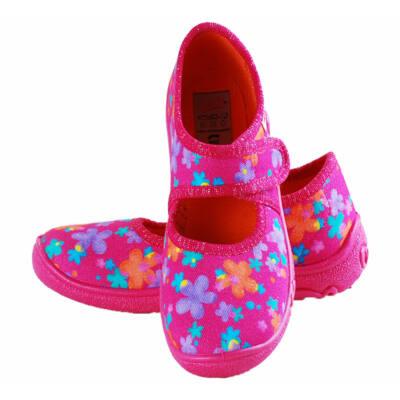 Sötétrózsaszín, virágos, kislány, Superfit vászoncipő