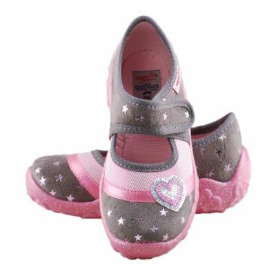 Szürke, rózsaszín, szivecskés, csillagos, Superfit vászoncipő
