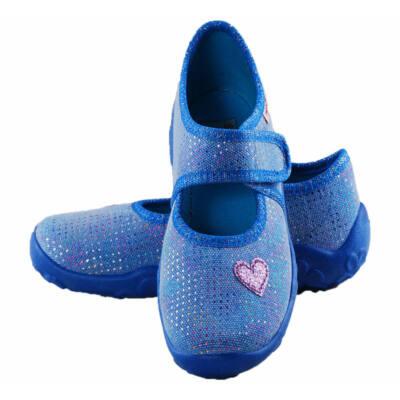 Kék, csillogó, szivecskés, Superfit vászoncipő