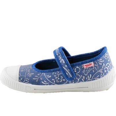 Kék, ezüst virágos, Superfit vászoncipő