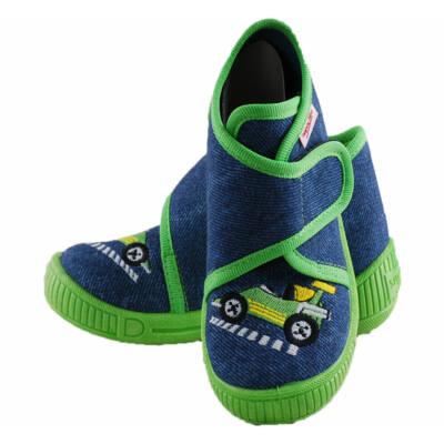 Farmerkék-neon, versenyautós, Superfit vászoncipő