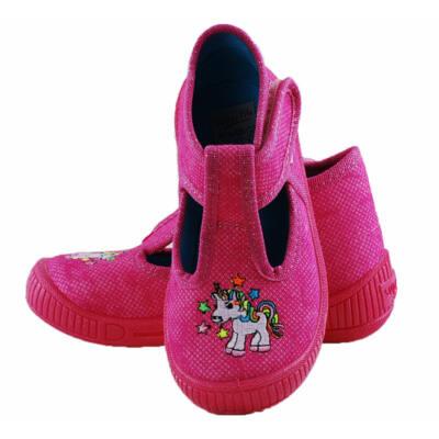 Rózsaszín, lovacskás, Superfit, nyitott vászoncipő
