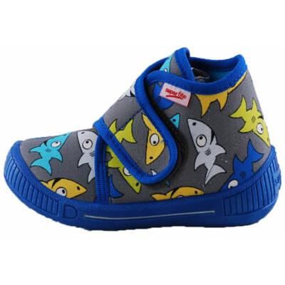 Kék-szürke, cápás Superfit vászoncipő