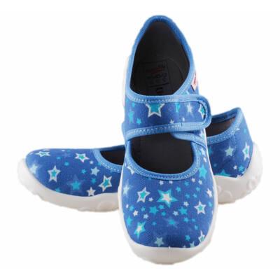 Kék, csillagos, lányka, Superfit vászoncipő