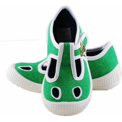 Zöld, békás, nyitott Superfit vászoncipő