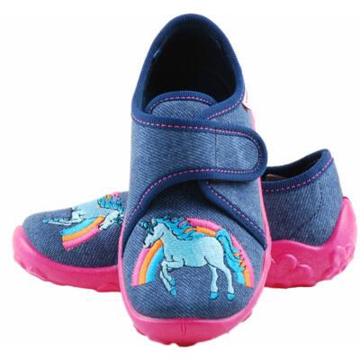 Kék, pink talpú, lovas, Superfit vászoncipő