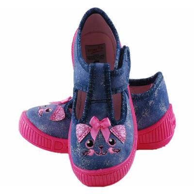 Csillogós kék, pink cicás, nyitott, Superfit vászoncipő