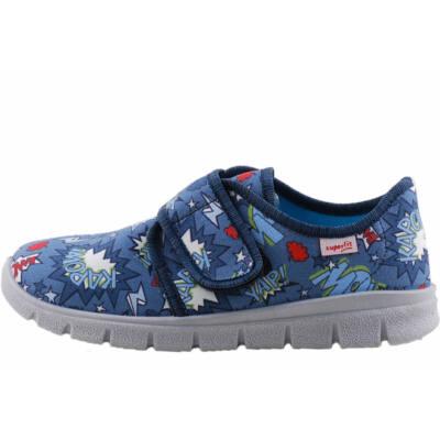 Kék, villámos, feliratos, Superfit vászoncipő