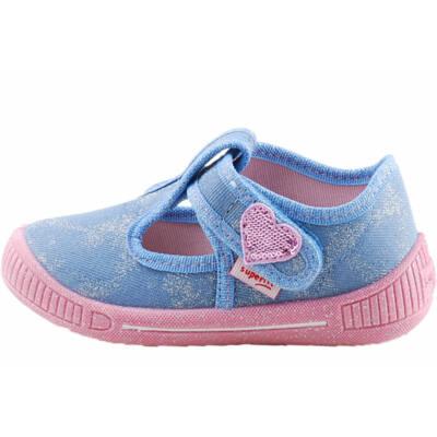 Kék, csillogós, szivecskés Superfit vászoncipő