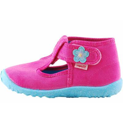 Pink, csillogó kék virágos, Superfit vászoncipő