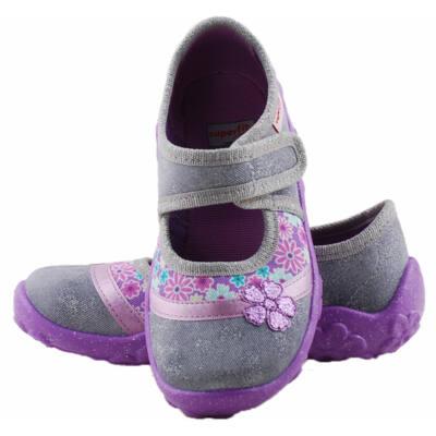 Csillogós szürke, lila virágos, Superfit vászoncipő