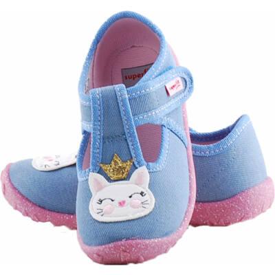 Kék-rózsaszín, cicás, Superfit, nyitott vászoncipő