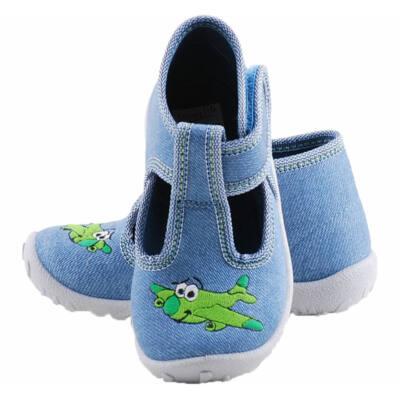 Farmerkék, zöld repülős, Superfit vászoncipő