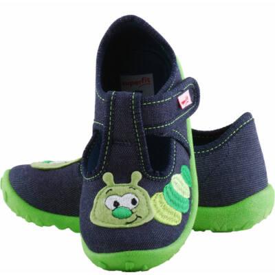 Sötétkék, zöld kukacos, nyitott, Superfit vászoncipő