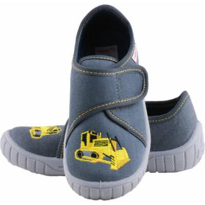 Szürke, sárga munkagépes, Superfit vászoncipő