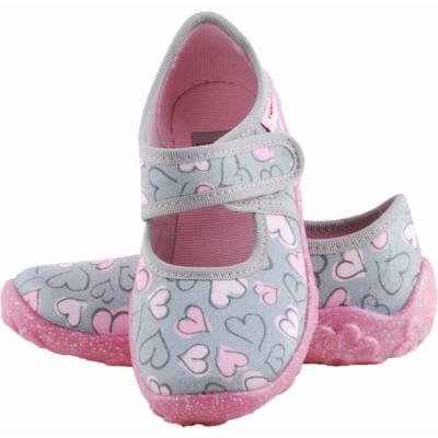 Szürke, rózsaszín szívecskés, Superfit vászoncipő